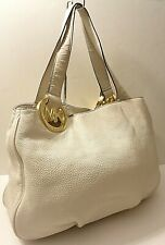 Michael Kors Fulton White Genuine Leather Hobo Shoulder Purse Bag