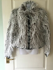 Fluffy Furry Faux Fur & Faux Leather Yeti Jacket Y London Size 12 CREAM/BROWN