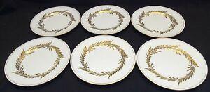 "Minton England Malta 6 Salad Plates Gold 7 3/4"" -Bone China"