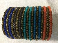 "Beautiful  One Size Multi-color  Beads Cuff Bracelet 3"" Wide"