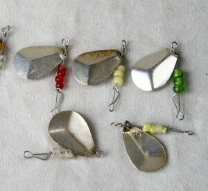 VINTAGE Old Stock 10 pcs spinners Silver Color Lures Unused - made in France  07