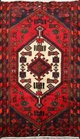 Tribal Traditional Geometric Hamedan Area Rug Wool Hand-knotted Oriental 3x5 ft