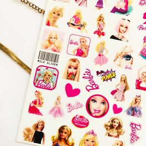 Barbie Pink Cute Nail Art Stickers Transfers Decals Set Gel Polish