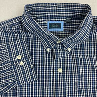 Arrow Button Up Shirt Mens 2XL Blue White Long Sleeve Cotton Check Casual Shirt