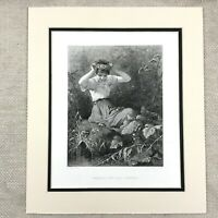 1878 Print Young Victorian Girl Painting Flower Crown Antique Engraving