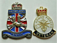 2 X BRITISH ARMY ENAMEL PIN BADGES UK VETERAN ARMED FORCES AND BRITISH ARMY 3D