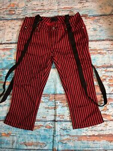Tripp NYC Striped Capri Pants with Suspenders Punk Gothic Mall Goth  Sz 3