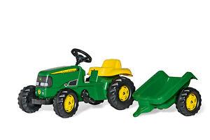 RollyToys John Deere Trettraktor mit Anhänger, Kinder 2,5-5 Jahre, Heckkupplung