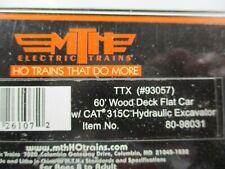 MTH #80-98031 TTX 60' Wood Deck Flat Car w/CAT 315C Hydraulic Excavator HO NEW