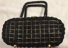 Mid Century Bag Purse Beaded Black Gold Brass Wire Basket weave Hong Kong *