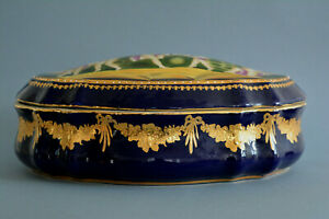 Large Vintage Cobalt Blue & Gold Porcelain Jewelry Casket Dresser Box