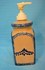 Loomco China Ceramic Soap Lotion Dispenser Blue Sponge-Ware Tan Blue Flowers