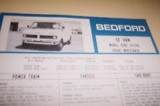 BEDFORD 1980 CF Van SWB  Spec Sheet GM NZ