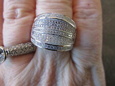 Sterling Silver Micro Pave CZ Cigar Band Wide Ring Loaded with Stones NEW 9 Row