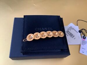 NEW CHANEL'20A GOLD BUTTON BARRETTE HAIR CLIP NWT and BOX