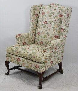 Mahogany Queen Anne Wing Chair attributed to Southwood Floral Fabric