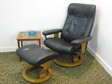 Black Ekornes Stressless Chair & Footstool, swivel recliner armchair Northants