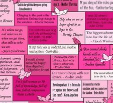 Musings-Words to Live By- INSPIRATIONAL SAYINGS - Fabric-Pink-1/ 2 Yd