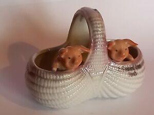 CHAMRING ANTIQUE VICTORIAN POTTERY FAIRINGS PIGS IN A BASKET