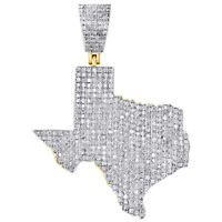 """10K Yellow Gold Diamond Texas Map Pendant 1.5"""" The Lone Star State Charm 0.90 CT"""