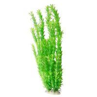 "18"" Artificial Plastic Green Plants Decoration For Fish Tank Aquarium ED"