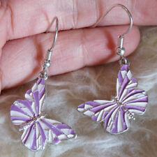 Butterfly Dangle Drop Hook Earrings Cute Lovely Womens Contrast Purple Metal