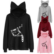 Women Cat Print Cat Ear Loose Hooded Hoodies Sweatshirt Pullover Plus Size Coat