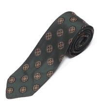 DRALON Vintage Green Ornate Gold Medallion Men's Skinny Neck Tie