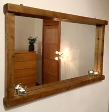**** HANDCRAFTED Farmhouse/Country/ Rustic Light Oak Finished Chunky Wood Mirror
