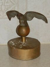 VINTAGE FLAG POLE TOPPER TRUCK WITH BRONZE EAGLE FIGURE
