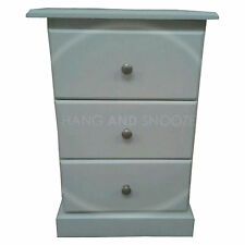 HAND MADE CAMBRIDGE 3 DRAWER BEDSIDE WHITE/SILVER (ASSEMBLED)