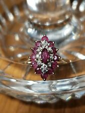 Vintage 14K Ruby Ring, Diamond Accents - Size 6, Yellow Gold