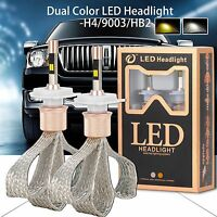 80W 11000LM H4/HB2/9003 LED Headlight Fog Light Bulbs Dual Color Conversion Kit