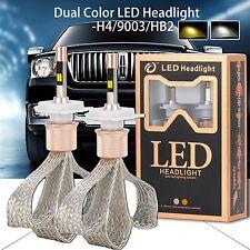 80W 11000LM H4/HB2/9003 LED Headlight Fog Light Bulbs Dual Color Conversion Kit