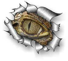 Classique déchiré déchiré métal RIP & Evil croco crocodile reptile Yeux Autocollant Voiture