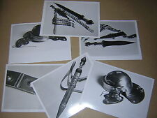 SIX B&W PHOTOS OF REPLICA ANCIENT ROMAN ARMOUR & WEAPONS.