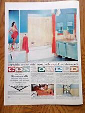 1958 Marble-Smooth Plastic Laminated Consoweld Showerwalls Ad  Bathroom Theme