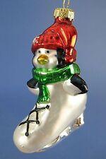 Thomas Pacconi Penguin in Figure Skate Glass Christmas Tree Ornament
