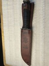 CAMILLUS New York USA Vintage Military Combat Knife with Leather Sheath