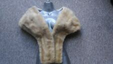 C37 vintage real blond mink fur cape stole full pelt