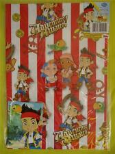 JAKE & THE NEVERLAND PIRATES -2 SHEETS OF GIFT WRAPPING PAPER & 2 TAGS in packet