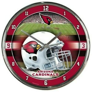 NFL - Arizona Cardinals- New Chrome Round Wall Clock  12 Inches Diameter, New