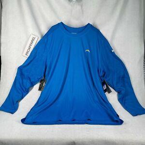 Nike Los Angeles LA Chargers Blue Long sleeve T-Shirt UPF 40+ Dri-Fit NWT 4XL-T