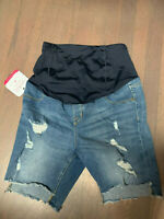 Women's Maternity Denim Distressed Shorts