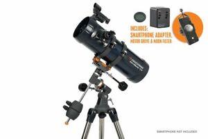 Celestron AstroMaster 114EQ Telescope + Motor Drive & Phone Adapter Kit  #32042