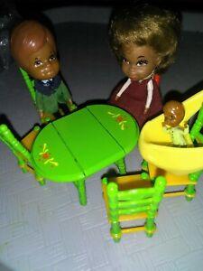Vintage '80 Mattel The Littles Black Family Mr.& Mrs. & Baby + furniture, loose
