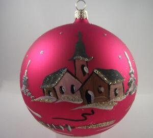 Weihnachtskugel Fensterkugel  rot 14cm Glas  mundgeblasen & handbemalt Lauscha