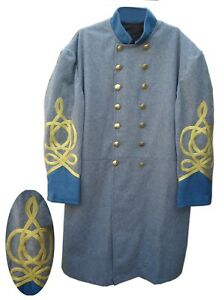 CONFEDERATE FROCK COAT, OFFICERS, DOUBLE BREASTED,BLUE SIZE 34 -54, NEW