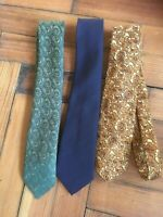 Mens Vintage Ties Tootal Green & Gold Paisley Pattern M&S St Michael Navy Blue