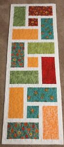 """Hand Made Quilted Table Runner/Topper ~14"""" x 40 1/2"""" ~Multi & White"""